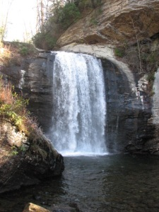 Looking Glass Falls, beside US-276 in Pisgah National Forest in Transylvania County, NC is 60 feet high.