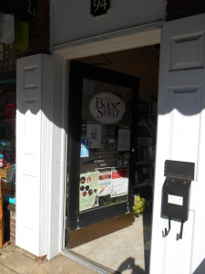 The entrance to The Book Shelf on Trade Street in Tryon, NC.