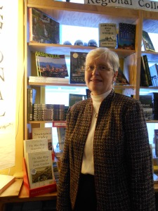 Janet with her book at Malaprop's Bookstore/Cafe in Asheville, NC on December 2, 2014.