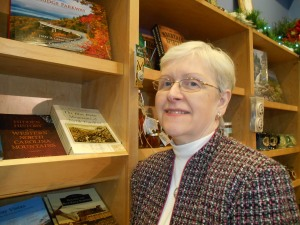 Janet with her book at the Blue Ridge Parkway Visitors Center near Asheville, NC.