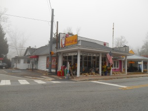The Wrinkled Egg on a foggy December day in Flat Rock, North Carolina.
