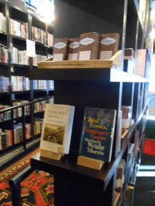 My book on an end cap across from the bar at Battery Park Book Exchange and Champagne Bar. Great location!