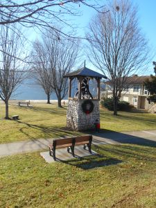 The bell at Lake Junaluska decorated for Christmas 2014.