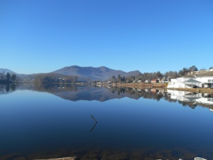 Stuart Auditorium and the mountains reflected in Lake Junaluska.