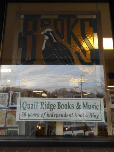 Window at Quail Ridge Books & Music in Raleigh.