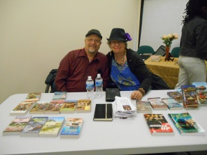 Joyce and Jim Lavene, authors from Midland, NC, at the Local Author Fair in Kannapolis.