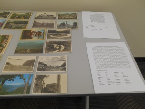 Blue Ridge Mountains word find puzzles and a few of the postcards displayed at the event