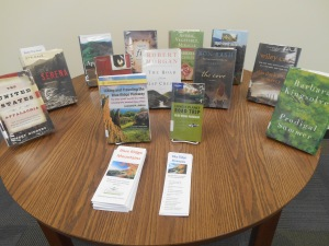 Display of other Blue Ridge Mountains books in library meeting room