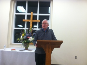 Mark de Castrique , speaking at Rocky River Readers Book Club, February 27, 2017